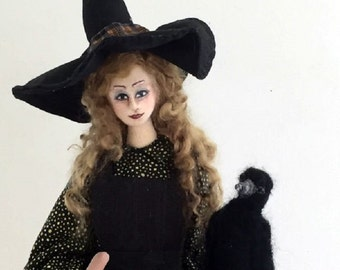 Witch cloth art doll Halloween decor poseable wire armature needle felted raven Hallowed