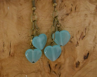 Double blue gemstone heart chain dangle earrings - under 10 - stocking filler