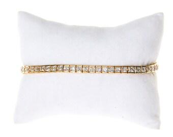 Princess Cut CZ Tennis Bracelet, Gold Tone Setting, 1980s