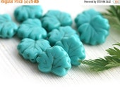 30%OFF SALE Maple leaves, Czech glass, leaf beads - Turquoise blue, pressed beads - 11x13mm - 10Pc - 0270