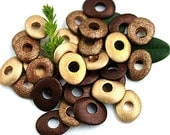 Metallic Beads mix in Golden, Old Gold, Brown Copper colors, greek Ceramic Cornflake beads, donut, washer, 10mm - 30pc - 2774
