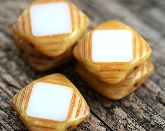 Square Czech glass beads, White and beige picasso finish, table cut, squares - 15mm - 4Pc - 2542