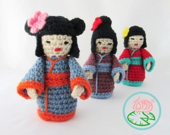 Amigurumi Mini Kokeshi (Japanese) Doll