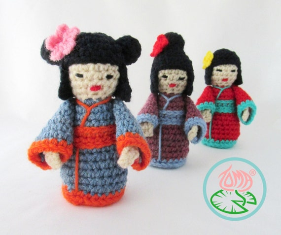 Amigurumi Mini Doll : Amigurumi mini kokeshi japanese doll