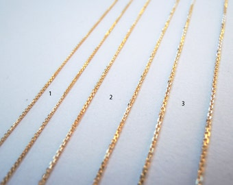 Solid Gold Chain 10k 14k - Italian Cable Diamond Cut - Yellow White and Rose