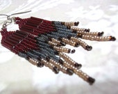 Garnet, Gray, Dark Topaz and Cocoa Pearl Seed Bead Fringe Earrings