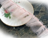 Reneabouquets Trim- Tattered Rose Tulle 2 1/4 Inch Wide Trim, Wedding Trim, Sewing, Scrapbook, crafts, tulle, pleated, lace