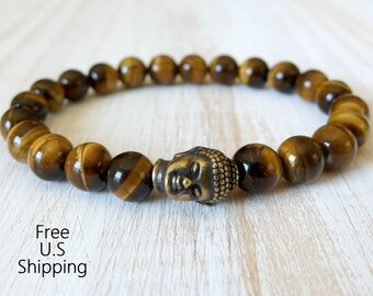 Protection, Mens Tigers eye bracelet, Mens's buddha Bracelet, Energy Mala, tribal bracelet, Reiki bracelet, Reiki Jewelry, Men's wrist mala