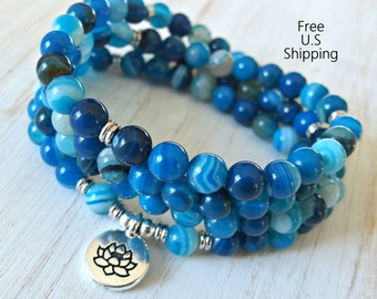 108 mala, Banded Agate, Mala Bracelet or Necklace,Reiki charged, Buddhist Rosary,Prayer beads, Gemstone, wrist mala, Lotus, buddha, ohm, om