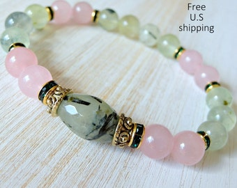 Prehnite bracelet, Rose Quartz, gemstone bracelet, mala, Yoga Bracelet, Meditation bracelet, Reiki, healing, unconditional love bracelet,