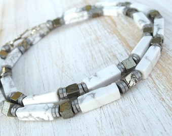 Men's Necklace, everyday necklace, summer necklace, Howlite necklace, Pyrite necklace, beach necklace, surfer necklace, tribal necklace, men