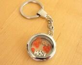 Orange Awareness floating locket Key Chain - DVT, Kidney cancer, Leukemia, Multiple Sclerosis, RSD, Skin Cancer and others