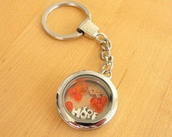 Orange Awareness floating locket Key Chain - DVT, Kidney cancer, Leukemia, Multiple Sclerosis, RSD, Skin Cancer and others