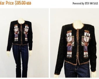 SALE Vintage Christmas Jacket Beaded Nutcracker BK Sequin ,Ugly Christmas Party, Modern M - L