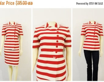 SALE Vintage Suit 90s Jones New York Red & Ivory Striped Skirt Suit Short Sleeves NWT Deadstock Sz 8P