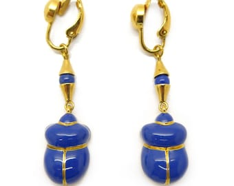 Vintage Ciro Gold Tone Blue Enamel Scarab Earrings