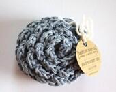 SHOP CLOSING SALE Flower Face Scrubby Set . Set of 3 . Crochet . 100 Percent Cotton . Denim Blue