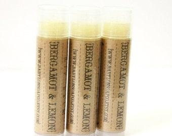 SHOP CLOSING SALE Bergamot Lemon Lip Balm . Cocoa Butter and Beeswax . 100% Natural Lip Balm . Tube Lip Balm