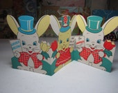 Darling die cut 1940's-50's 3 panel easter greeting card girl bunny in dress and bonnet and 2 boy bunnies in top hats all 3 holding tulips