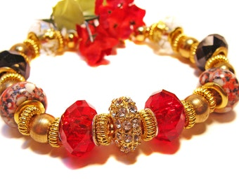 Red, Gold and Black European Style Beaded Bracelet with Crystals