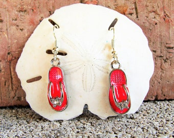 Cute Enameled Flip Flop Earrings with Rhinestones in Red, Black, White and Metallic Blue,  beach accessories, resort wear, gifts for her