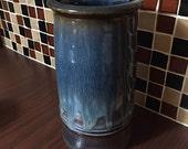 Gorgeous pottery vase, blue & copper