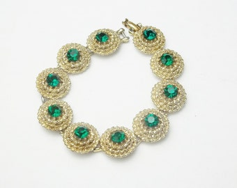 Emerald Green Rhinestone Bracelet Gold Dome Vintage Costume Jewelry