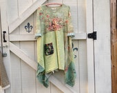 Reserved.....lagan style XXL dress Hippie dress babydoll tunic, Patchwork dress, rustic clothing