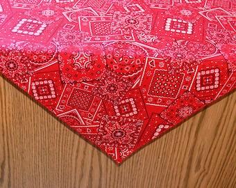 40 x 40 Red Bandana print Table Overlay