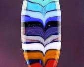 Rainbow Handmade Lampworked Glass Bead OOAK Pressed Tab Focal Red Orange Green Blue Indigo Violet Lampwork