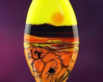 Unearthly Delight Handmade Lampworked Glass Bead OOAK Pressed Shield Focal Yellow Red Orange Black Lampwork