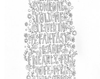 Serenity Prayer Quote Coloring Page Instant Download Line