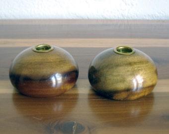 10% Off - Vintage Midcentury Short Wooden Candlesticks - Set of Two - Myrtlewood