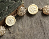 Antique Button Bracelet, vintage rhinestones