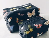 Travel Box Pouch Gift Set Butterflies; Toiletry Bag,