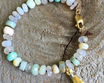 Opal and moonstone tassel bracelet