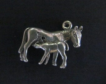 Vintage Mare and Foal Sterling Silver Charm FLAWED