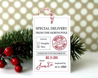 North Pole Christmas Gift Tags - 'Special Delivery From the North Pole' (Set of 10) - Christmas Tags, Christmas Wrapping, Gift Wrap, Santa