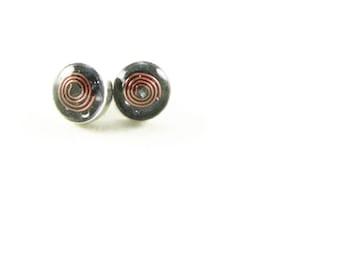 Orgone Energy Tiny Circle Post Earrings - Stud Earrings - Amethyst Gemstone - Simple Earrings - Minimalist - Orgone Energy Jewelry