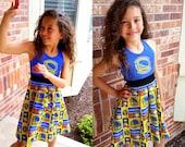 Golden State Warriors Dress, Girls Dress, Basketball Dress, Sleeveless Dress - Available 2y - 12y