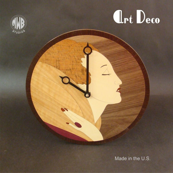 Wall Clock with Art Deco Female inlay.  WC-19  Free Shipping.