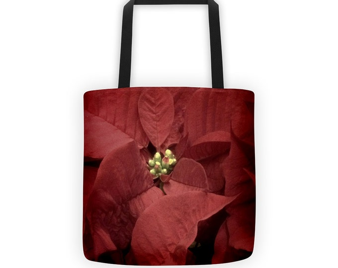 Christmas Poinsettia Tote for Eco Shopping and School and Sundry - 2 options available