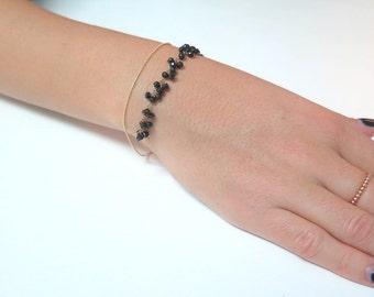 Black Onyx Bracelet, Layered Bracelet, Delicate Gemstone Bracelet, Tiny Bracelet, Bracelet Set, Gold Black Bracelet, Stackable Bracelet