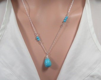 Turquoise Pendant Necklace, Turquoise Drop Necklace, Turquoise Silver Necklace, Turquoise Dainty Necklace, Teardrop Pendant, Turquoise, Ve