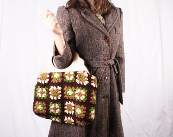 1960s Crochet Granny Square Floral Purse with Wooden Handles