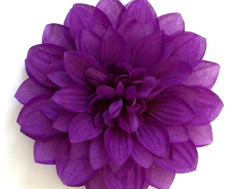 Dark Purple Dahlia - Eggplant Fabric Flower Hair Clip or Flower Pin