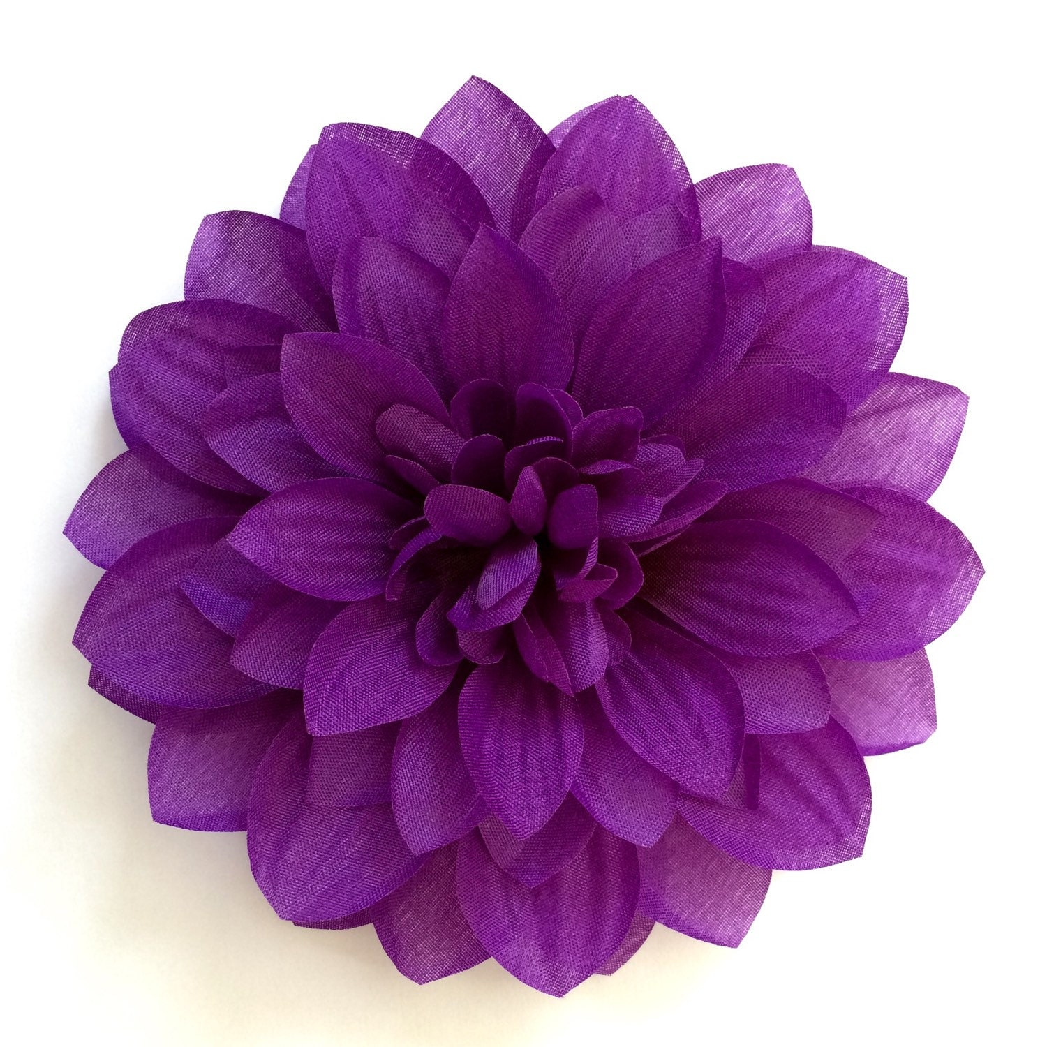 Dark Purple Dahlia Eggplant Fabric Flower Hair Clip or
