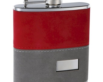 6 ounce Red and Grey Fuzzy Flask BCFSK
