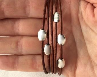 Beaded Wrap Bracelet - Brown Leather Wrap Bracelet - Women Wrap Bracelet - Bracelet Beads - Multi Wrap Cuff - Leather Bracelet Woman - Boho