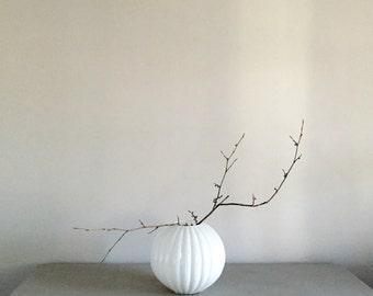 Opulent White Glass Vase